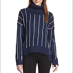 Anthropologie Cable Ribbed Turtleneck Sweater S